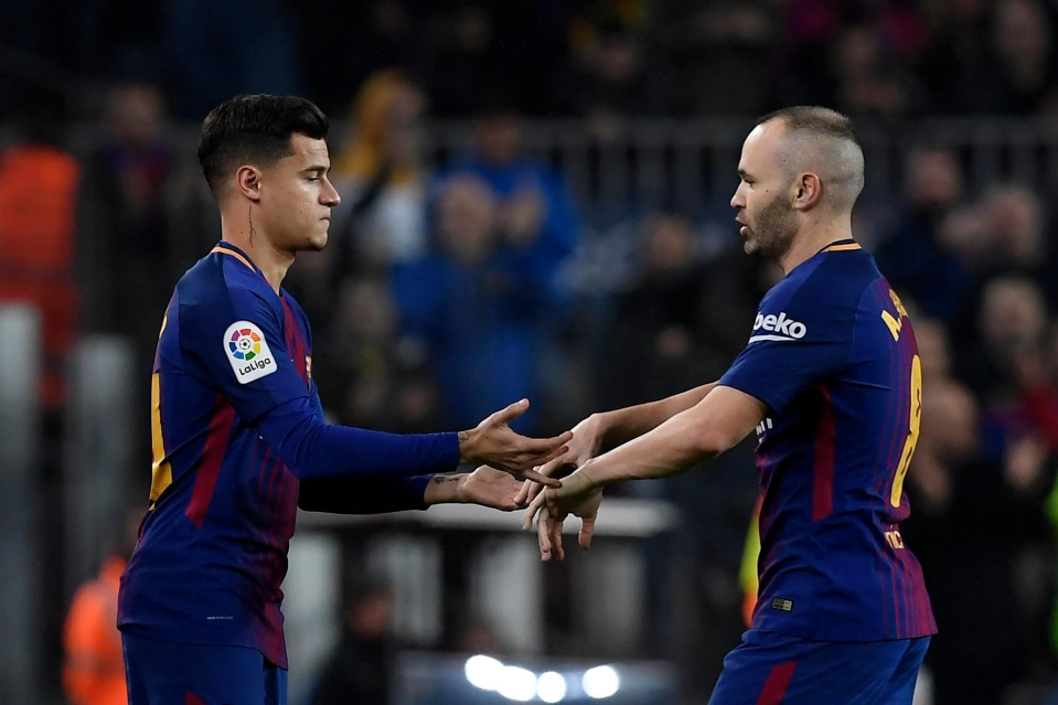 A move to Barcelona would see Philippe Coutinho move in Andres Iniesta's central position