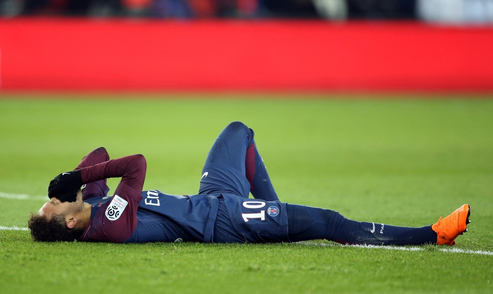 Neymar suffered a foot injury playing for PSG back in February