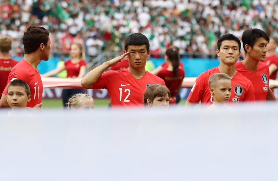 Kim Min-woo before the match against Mexico