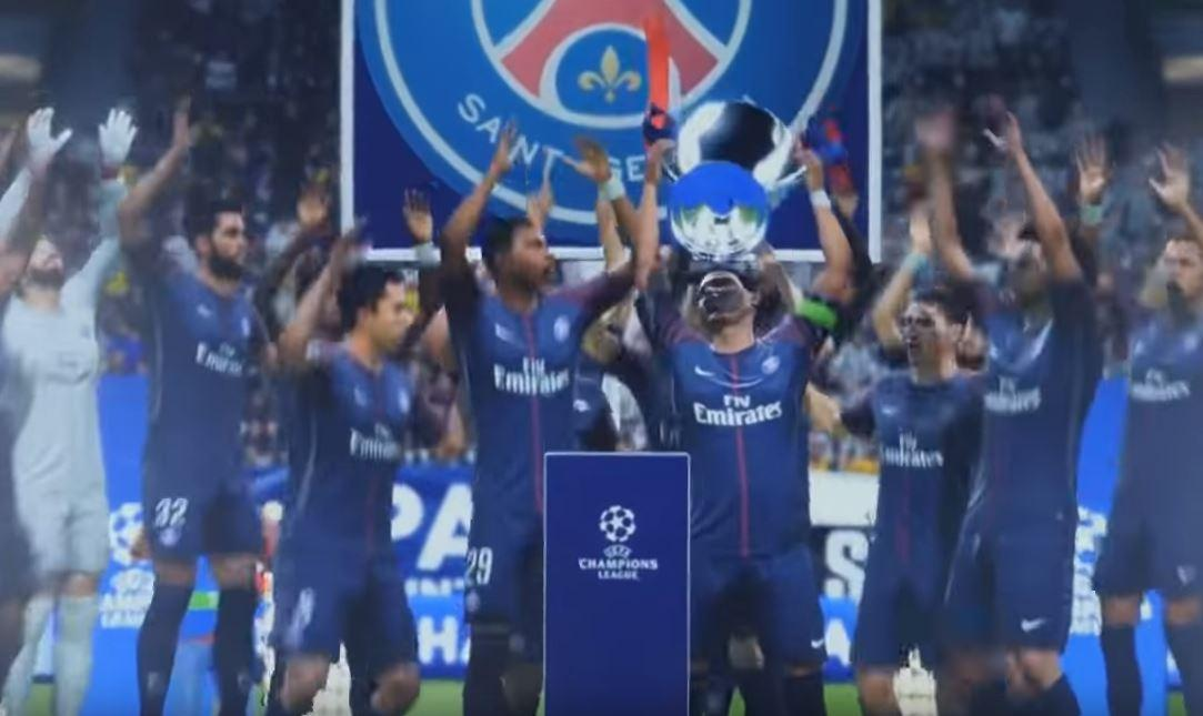 PSG celebrate by lifting the trophy