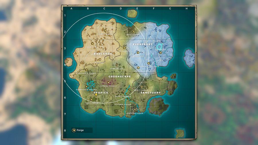 The map has four unique biomes