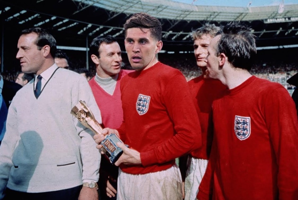 John Stones aka the 'Barnsley Baresi' holds the World Cup after victory in 1966