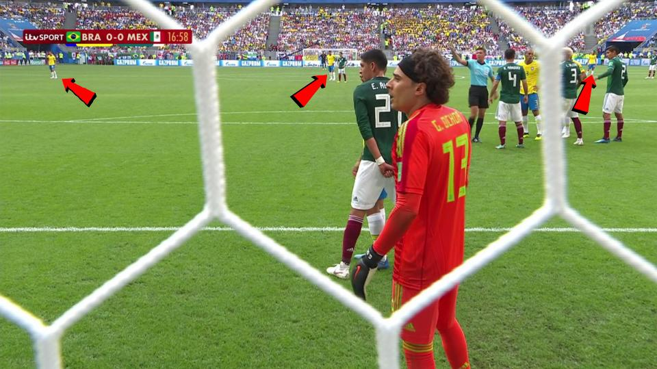 Silva can be seen on the halfway line keeping tabs on Javier Hernandez
