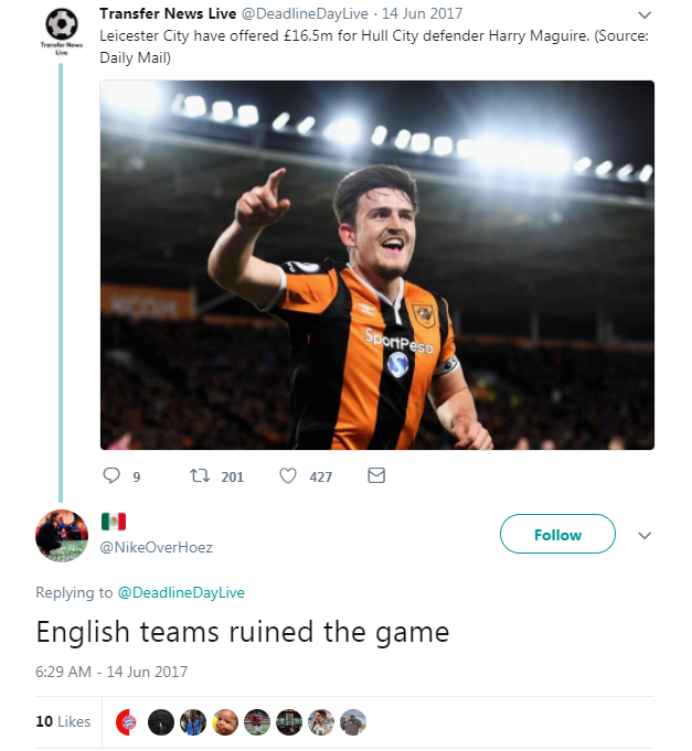 What Twitter said the day Harry Maguire signed for Leicester