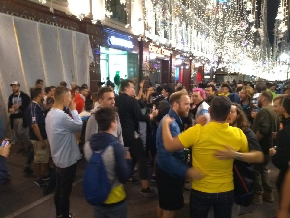 Mixing it with fans from everywhere, but this night belonged to England