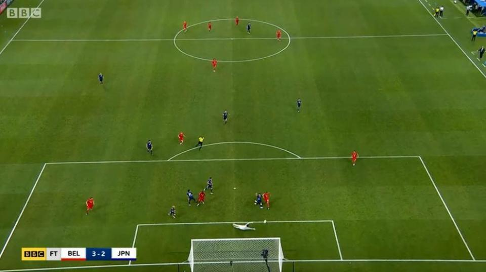 The move ended with Nacer Chadli tapping in from close range but Courtois' quick-thinking started it all
