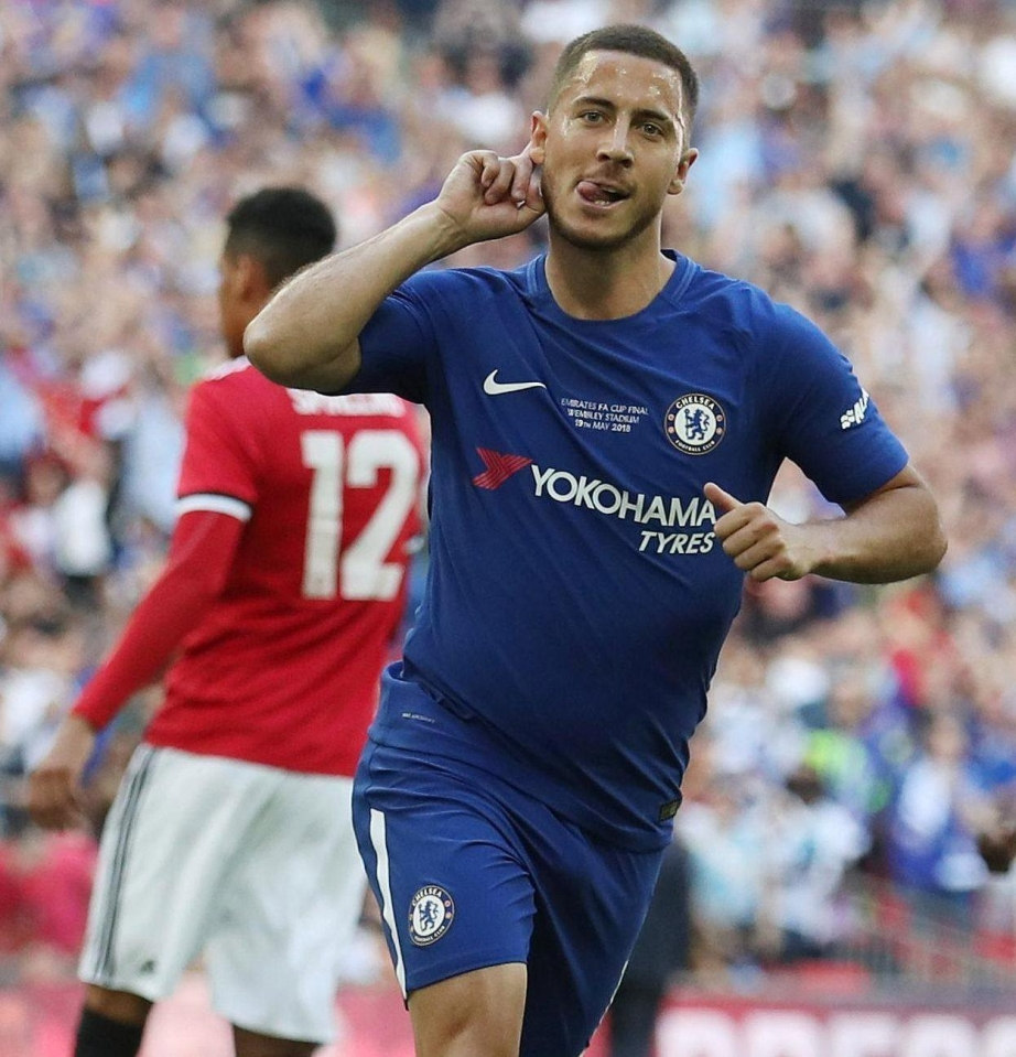 Hazard's last outing against United saw him score the winner in the FA Cup final