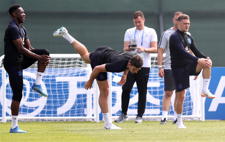 Maguire practising his technique in training