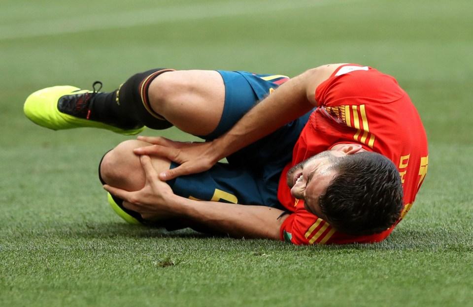 He was rubbing his knee, OKAY?