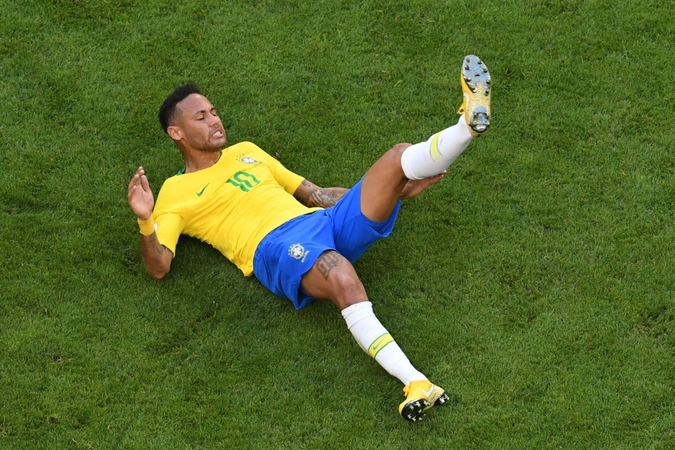 Neymar does tend to spend a lot of the game on his back