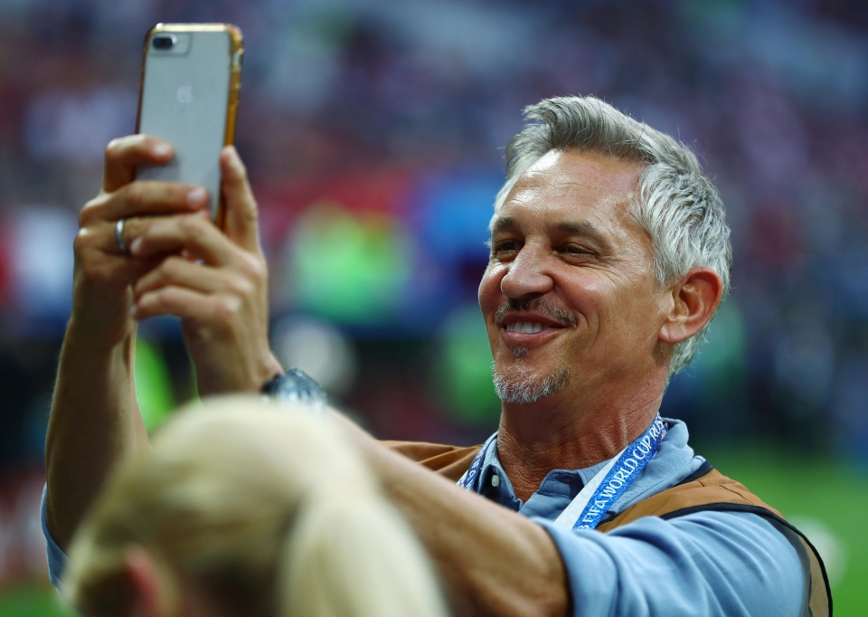 Gary Lineker grabs a selfie with a waistcoat on 28 years after he played in England's last World Cup semi-final