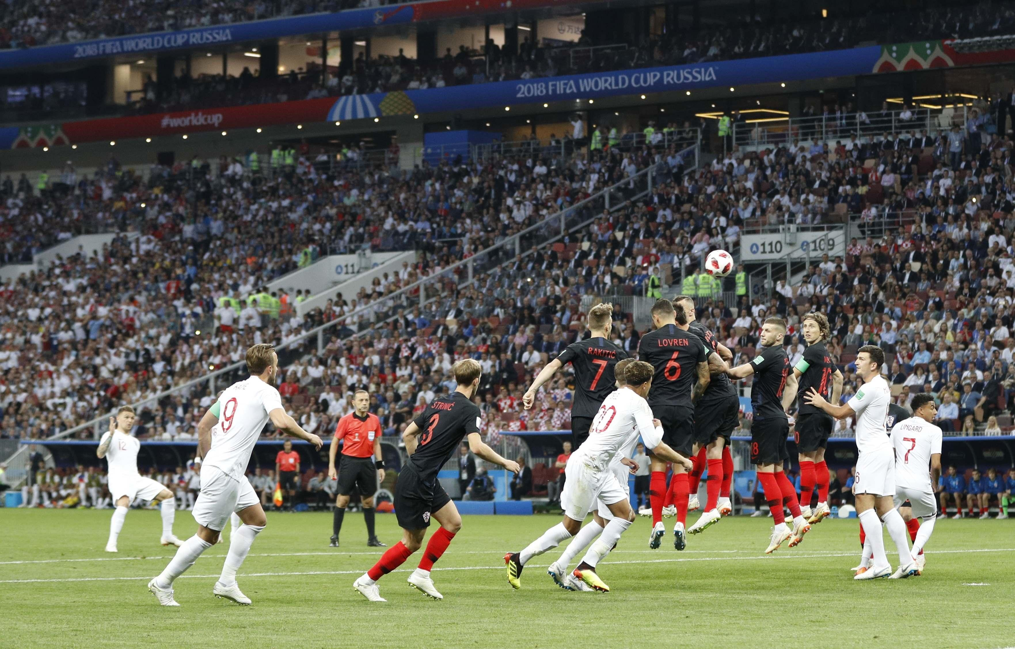Kieran Trippier's free kick floats over the wall and into the net for an early England lead