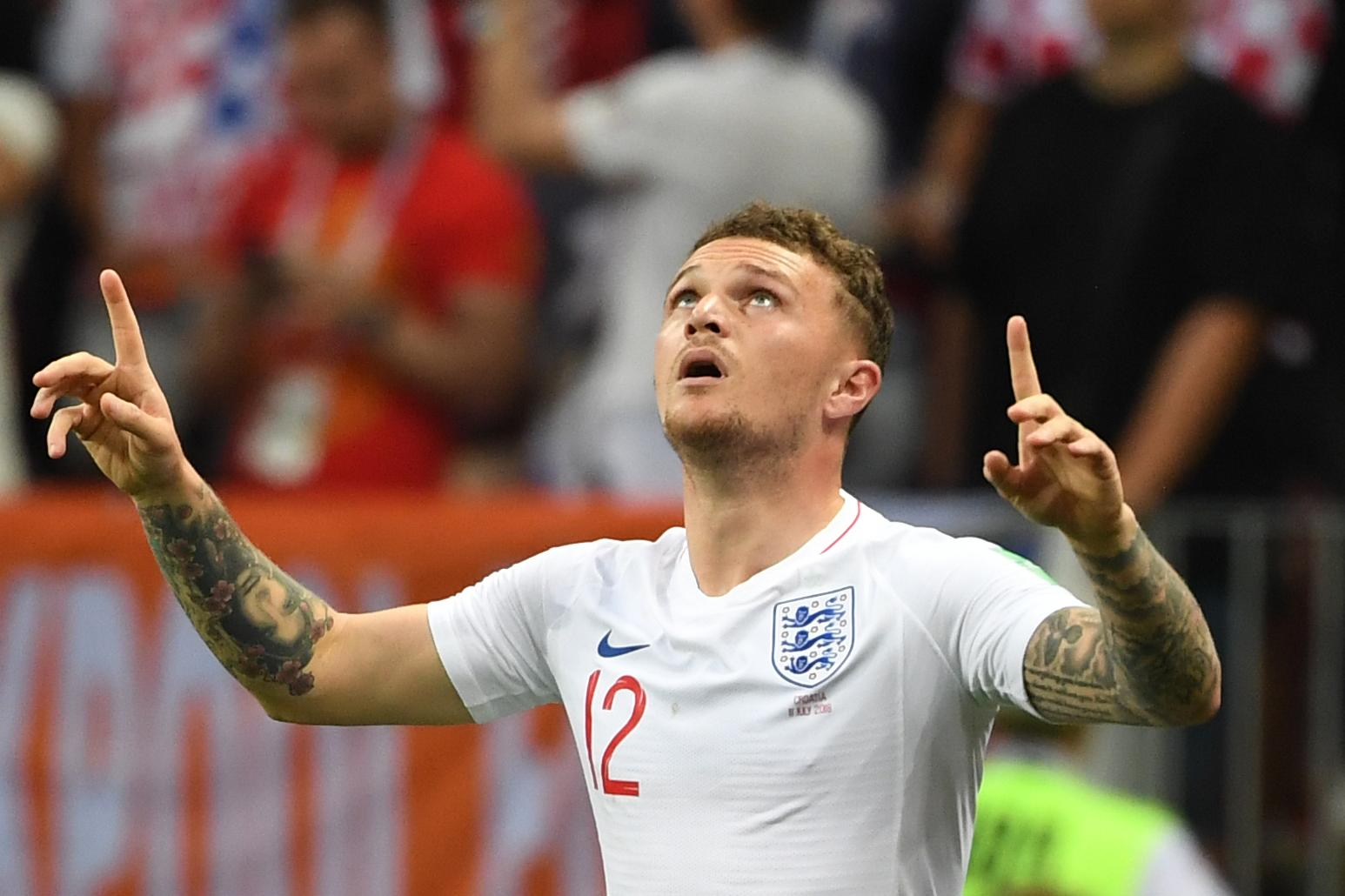 Trippier looked to the skies after becoming just the third Englishman to score in a World Cup semi