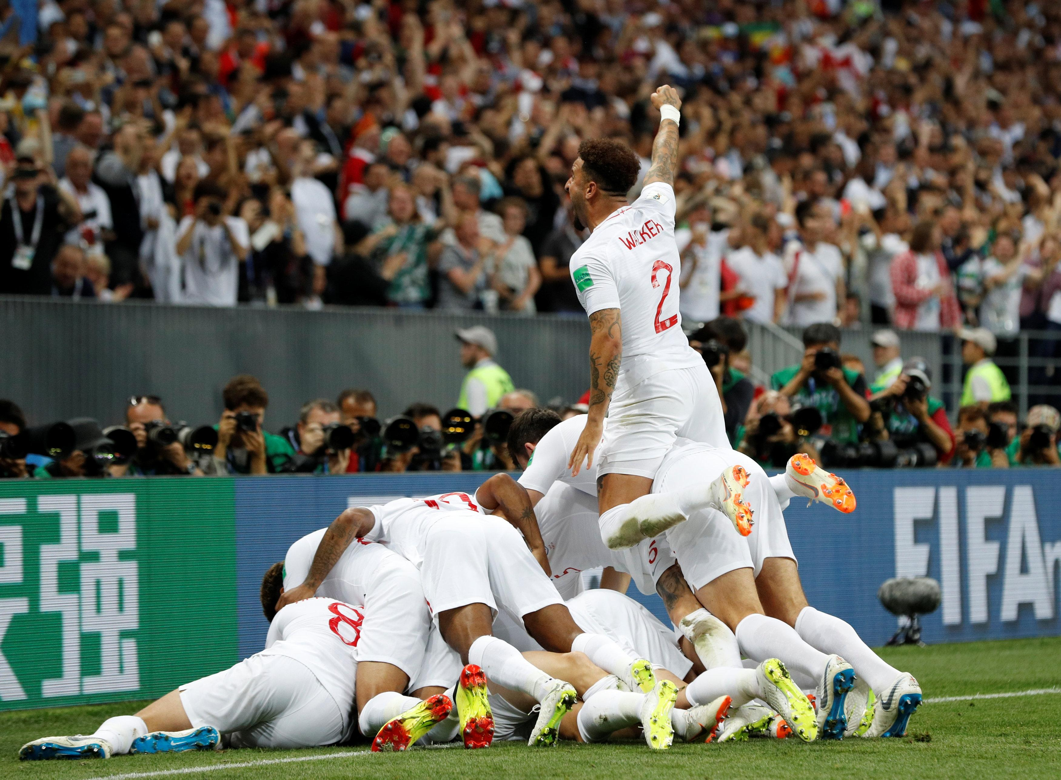 England celebrated wildly before quickly regaining their composure, with the vast remainder of the game still to come