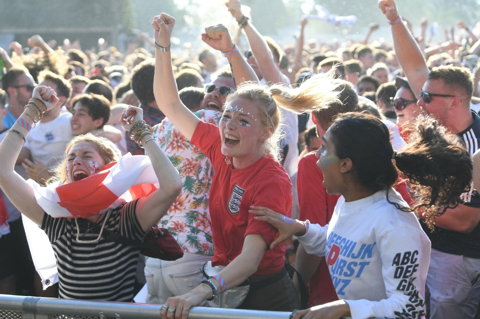 Fans in Hyde Park go wild after the early opening goal