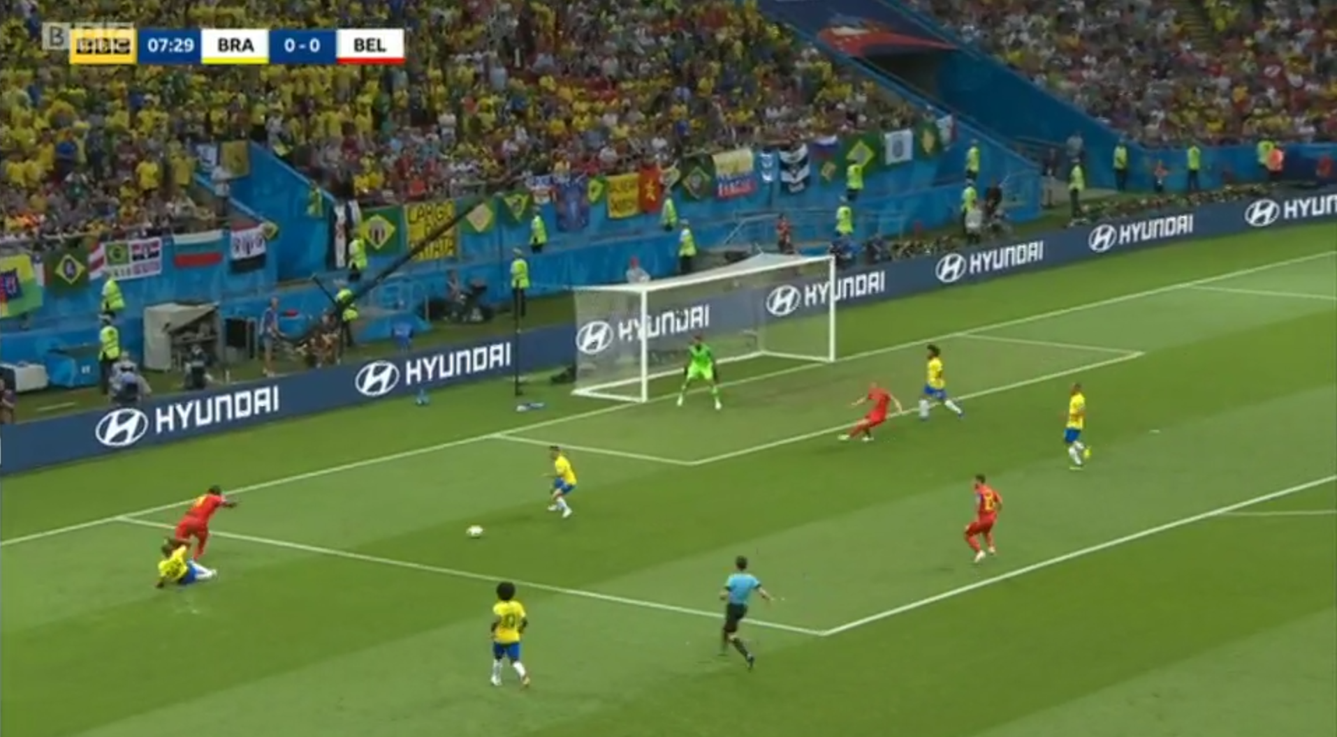 Lukaku evaded the challenge of the Brazilian defenders and Belgium had the ball in the opposition's box