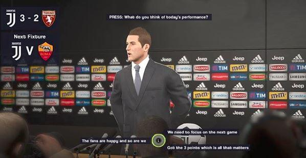 Concept of multiple dialogue options when hosting a press conference after a game