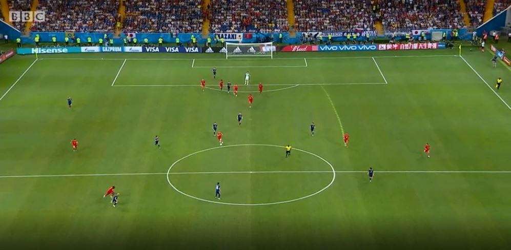 Lukaku, in the bottom left of your screen, begins his run from wide to the centre