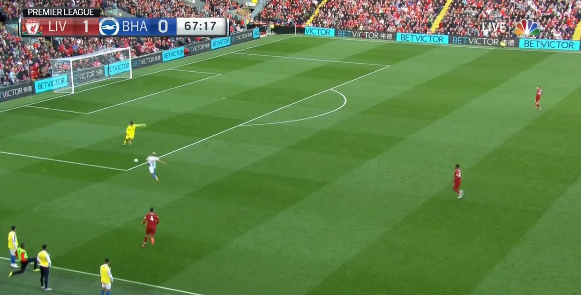 But the backpass isn't particularly powerful and allows Knockaert a chance to get on the end of it