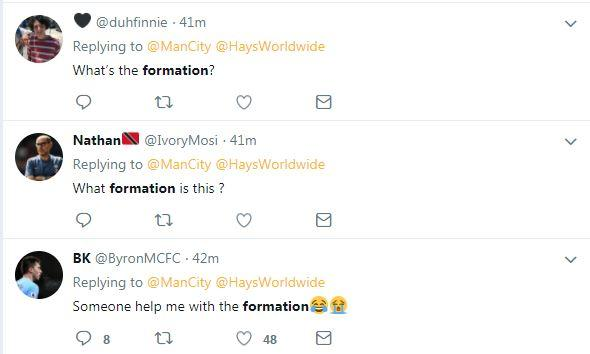 The replies to City's team announcement on Twitter