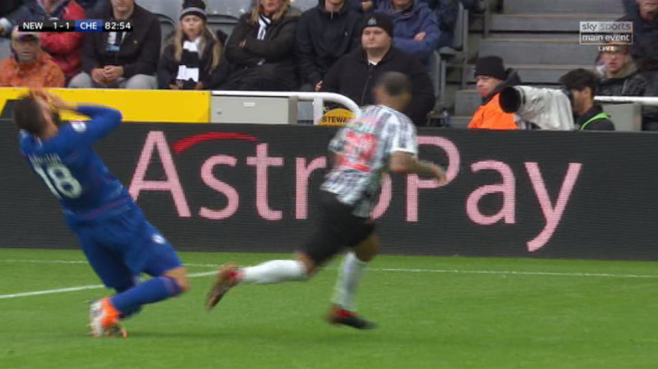 Referee Paul Tierney waved play on and Newcastle promptly equalised as the Chelsea man remained on the floor.