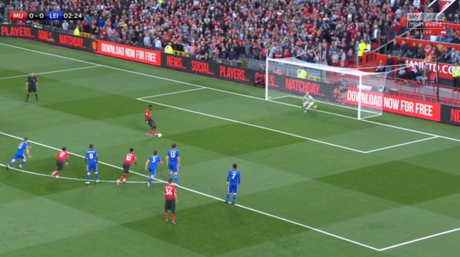 Finally, Pogba accelerates into the ball