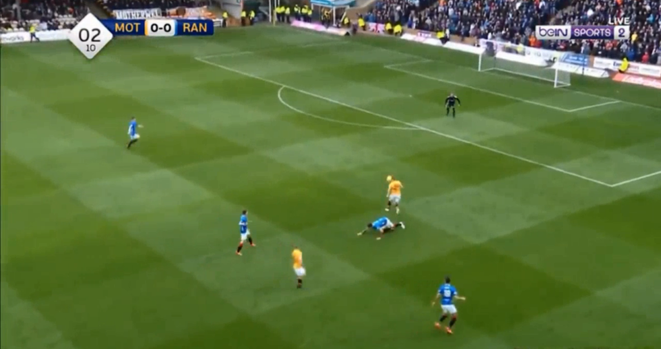 The Rangers man took up a stance similar to Gerrard's after his slip against Chelsea