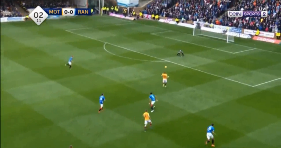 Just as Goldson got back to his feet, an onrushing Allan McGregor between the sticks slipped up too