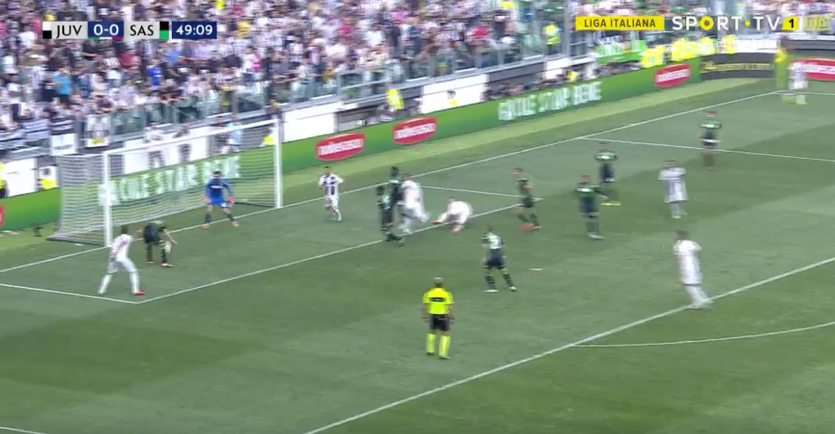 Ferrari got into a bit of a muggle at the far post and headed the ball downwards and onto the post