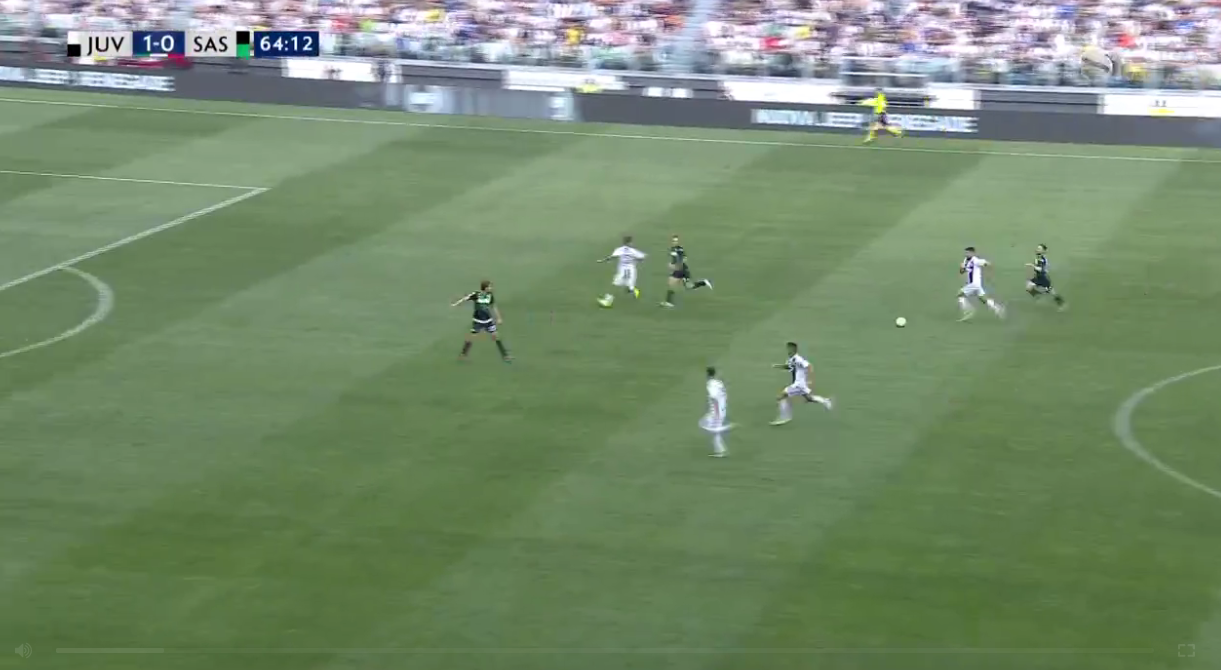 Juve breakaway, with Ronaldo the white blur at the bottom