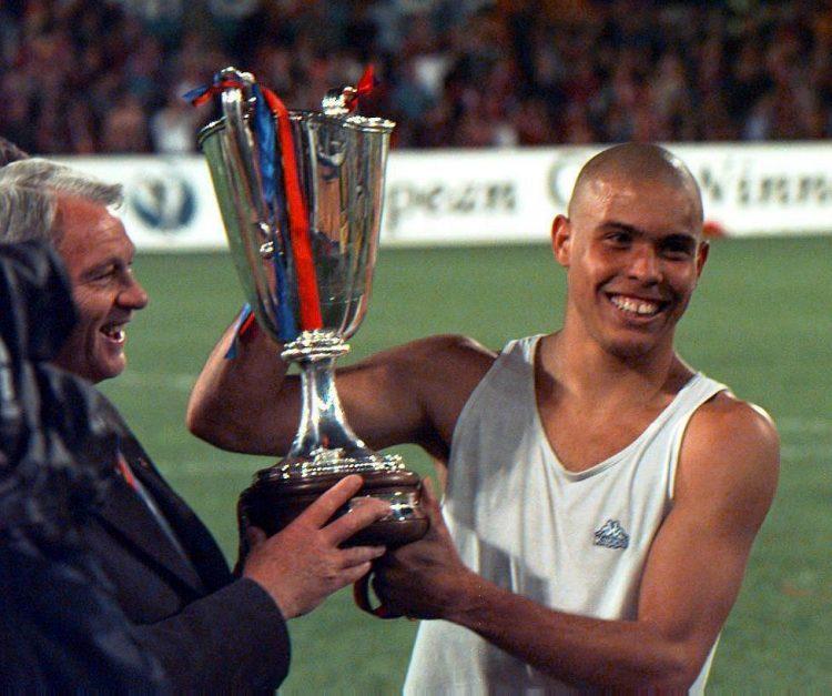 Ronaldo holding aloft the Cup Winners' Cup