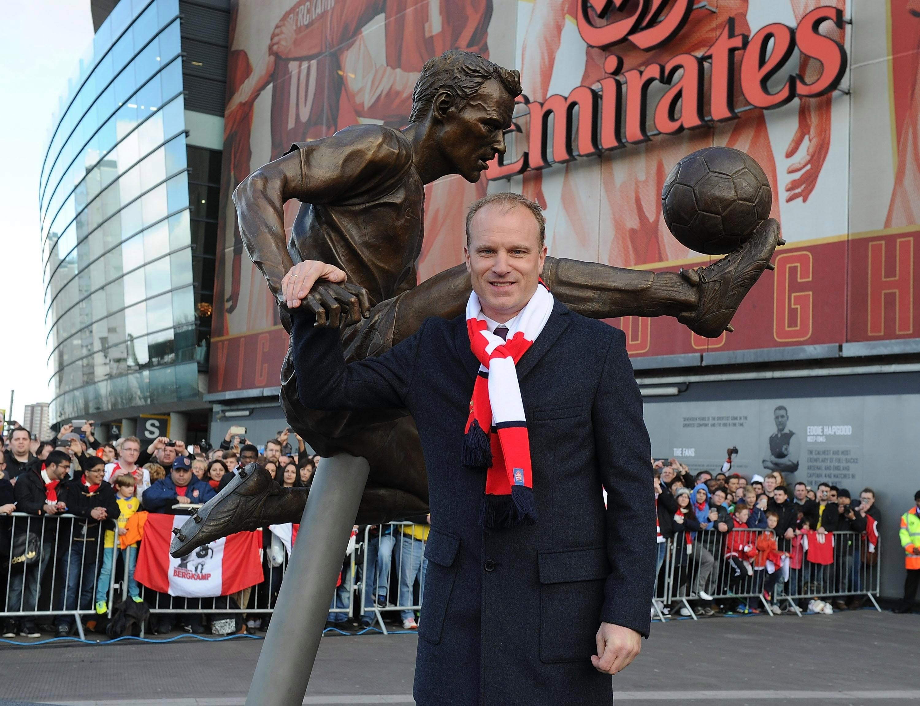 The Dutchman is now immortalised in bronze outside the Emirates