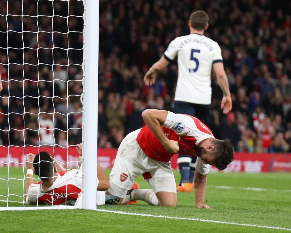 Giroud took his frustration out on the grass