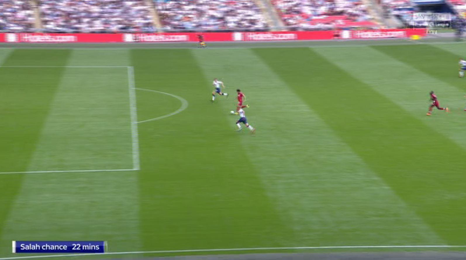 Salah raced through for a one-on-one