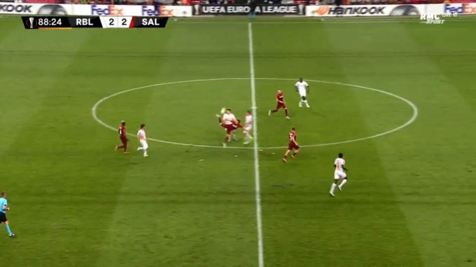 A bouncing ball in the centre of the pitch was met with Zlatan-like flick to outsmart a Leipzig player
