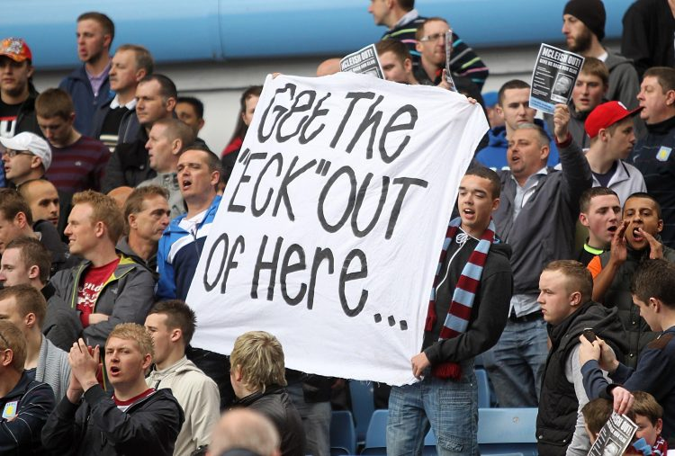 Safe to say these Villa fans were not keen when he was appointed