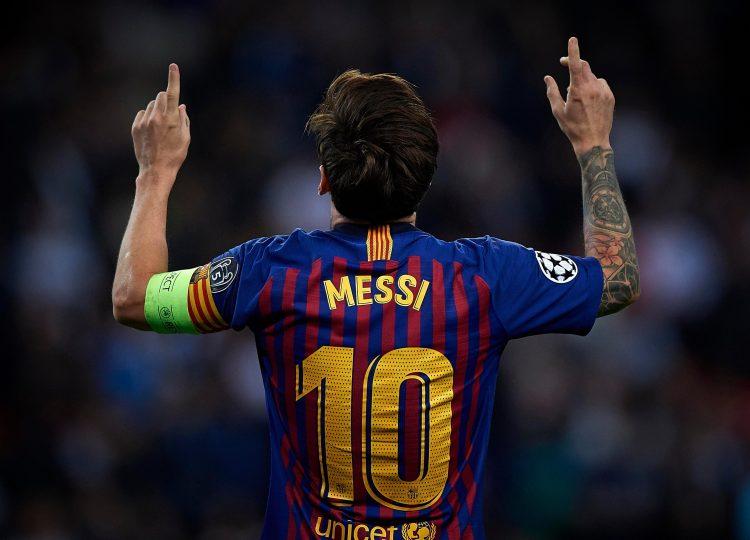 Messi celebrates against Spurs