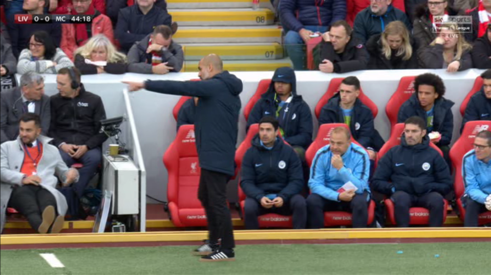 Guardiola was locked in deep conversation with his assistant manager Mikel Arteta