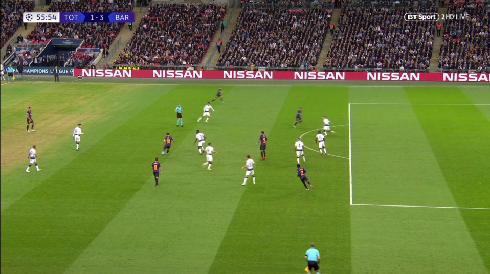 Messi collected the ball outside the area and spread it out wide to Jordi Alba