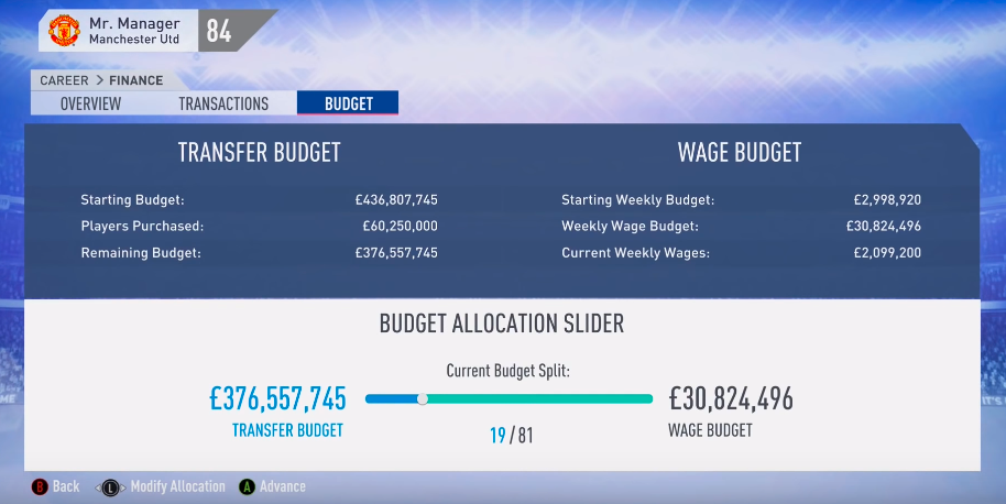 Move the slider and allocate your wage budget over into transfer