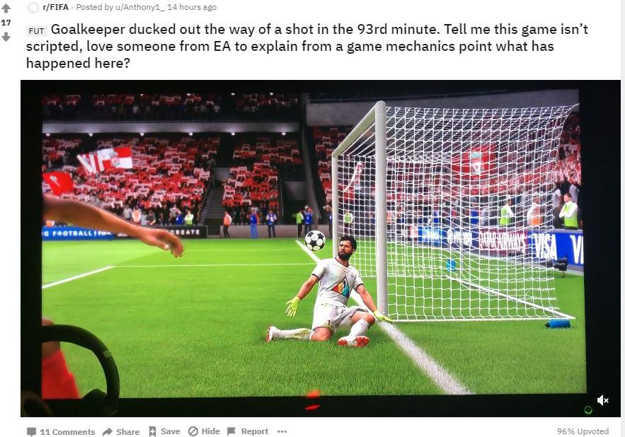 Hundreds of clips have found their way on to the FIFA sub-Reddit, with gamers claiming scripting is to blame for a number of 'cheap' goals