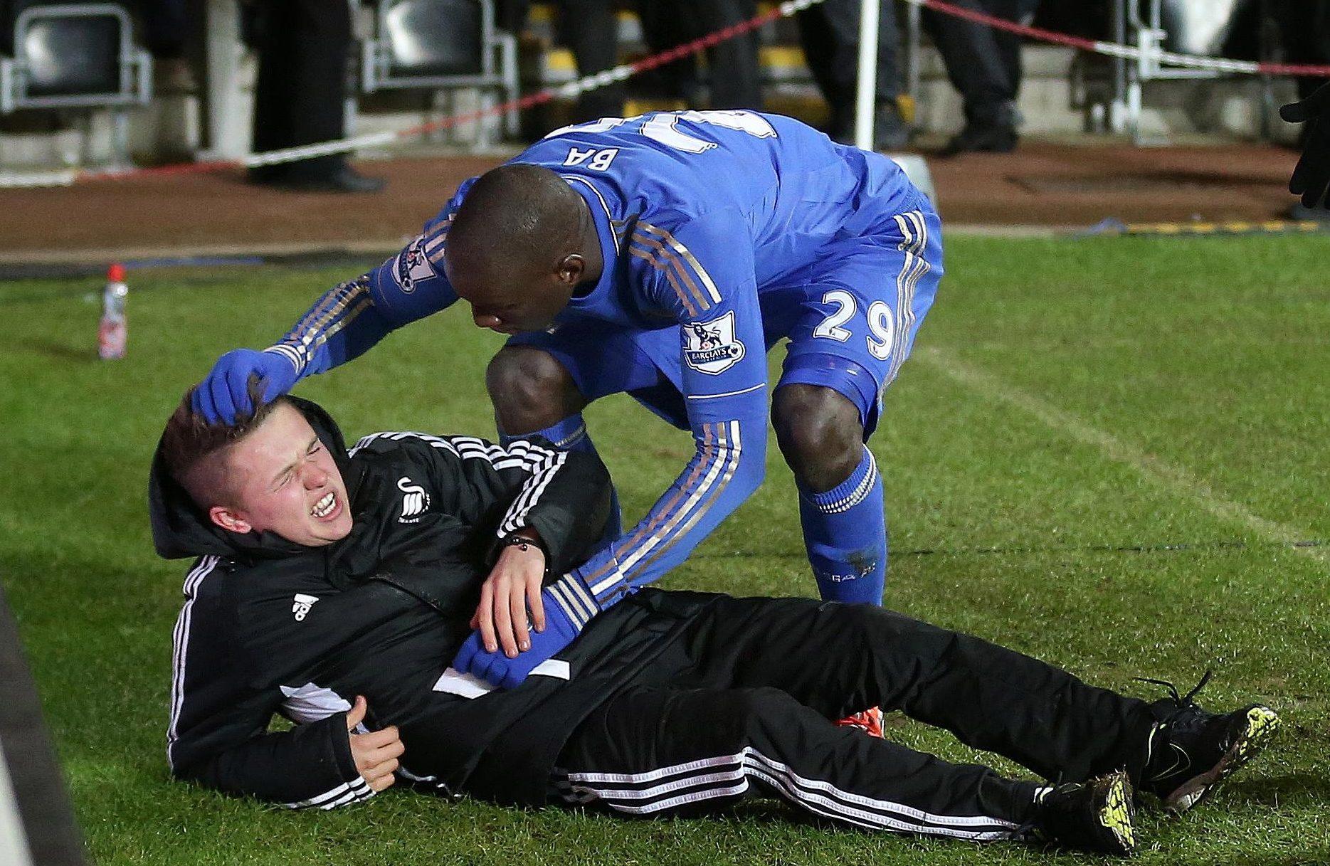 Demba Ba tends to Eden Hazard's personal boot polisher