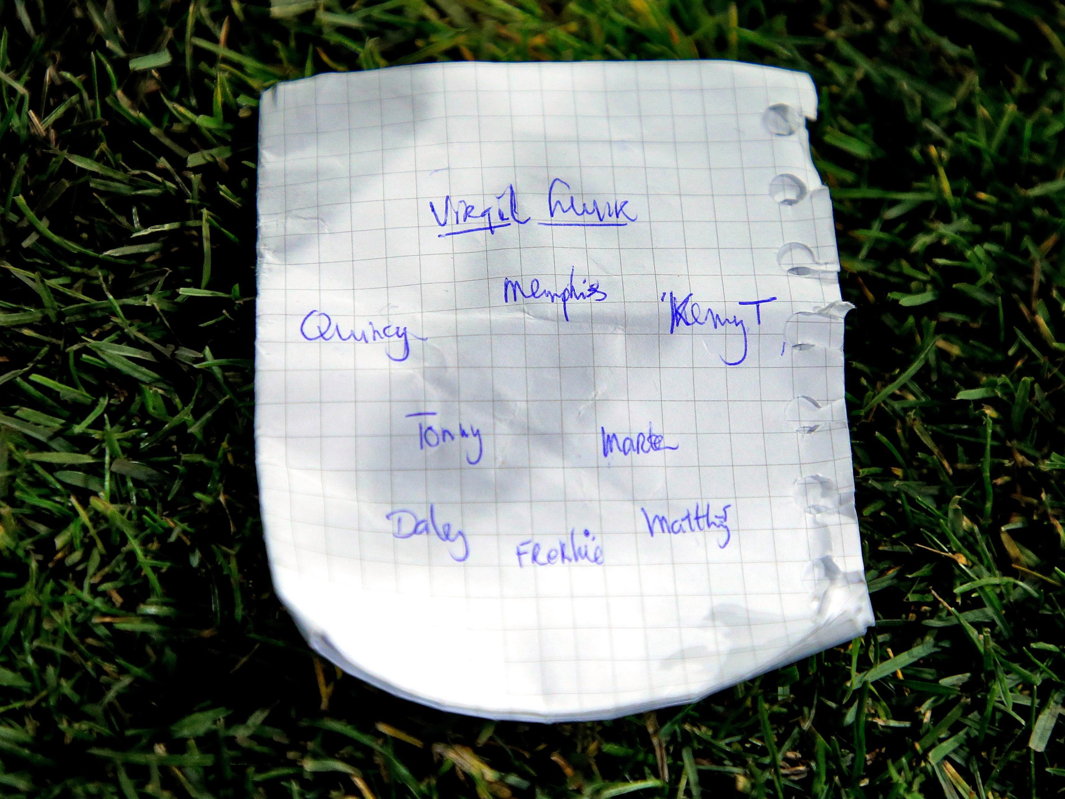 Koeman's last-minute tactics sheet featuring Van Dijk up front