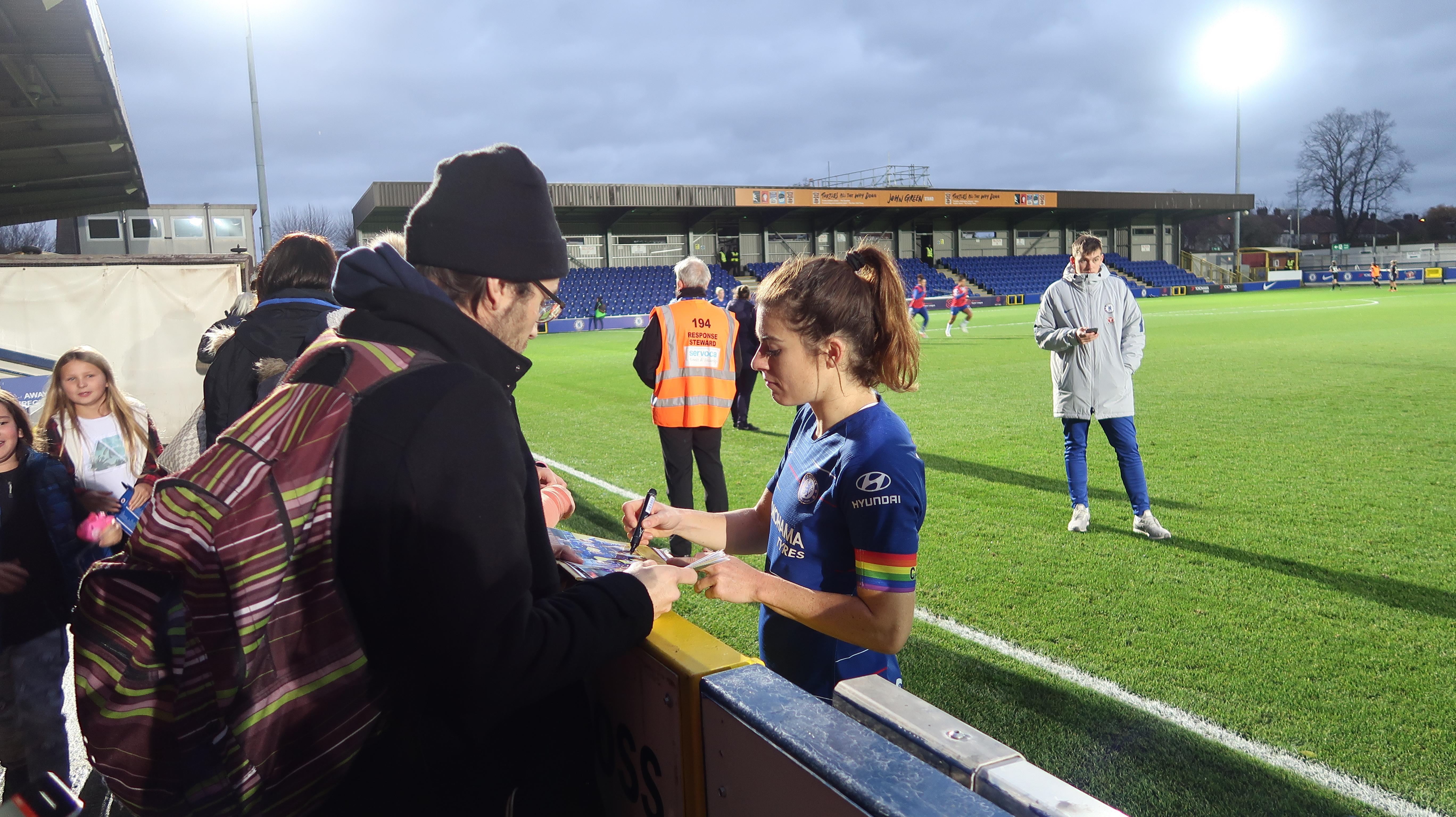 Karen Carney signing autographs