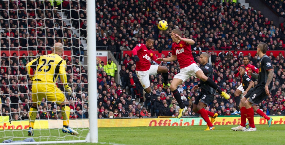 Evra and Vidic combine to score against the Reds in 2013