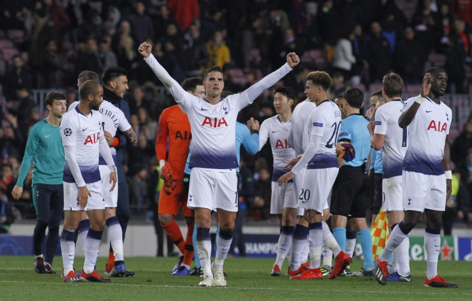Spurs reached the last 16 after securing a 1-1 result at the Nou Camp
