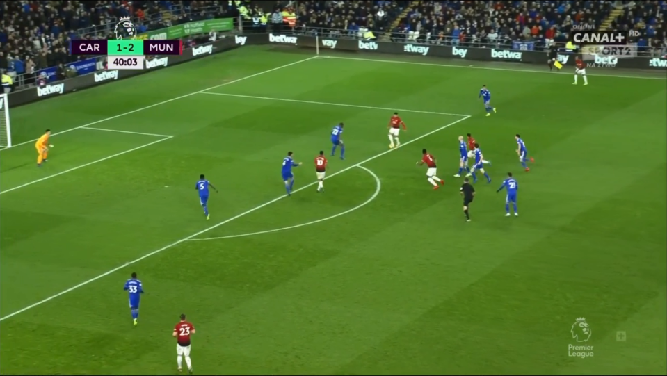 United's No6 then found Jesse Lingard in the box with a deft first time pass