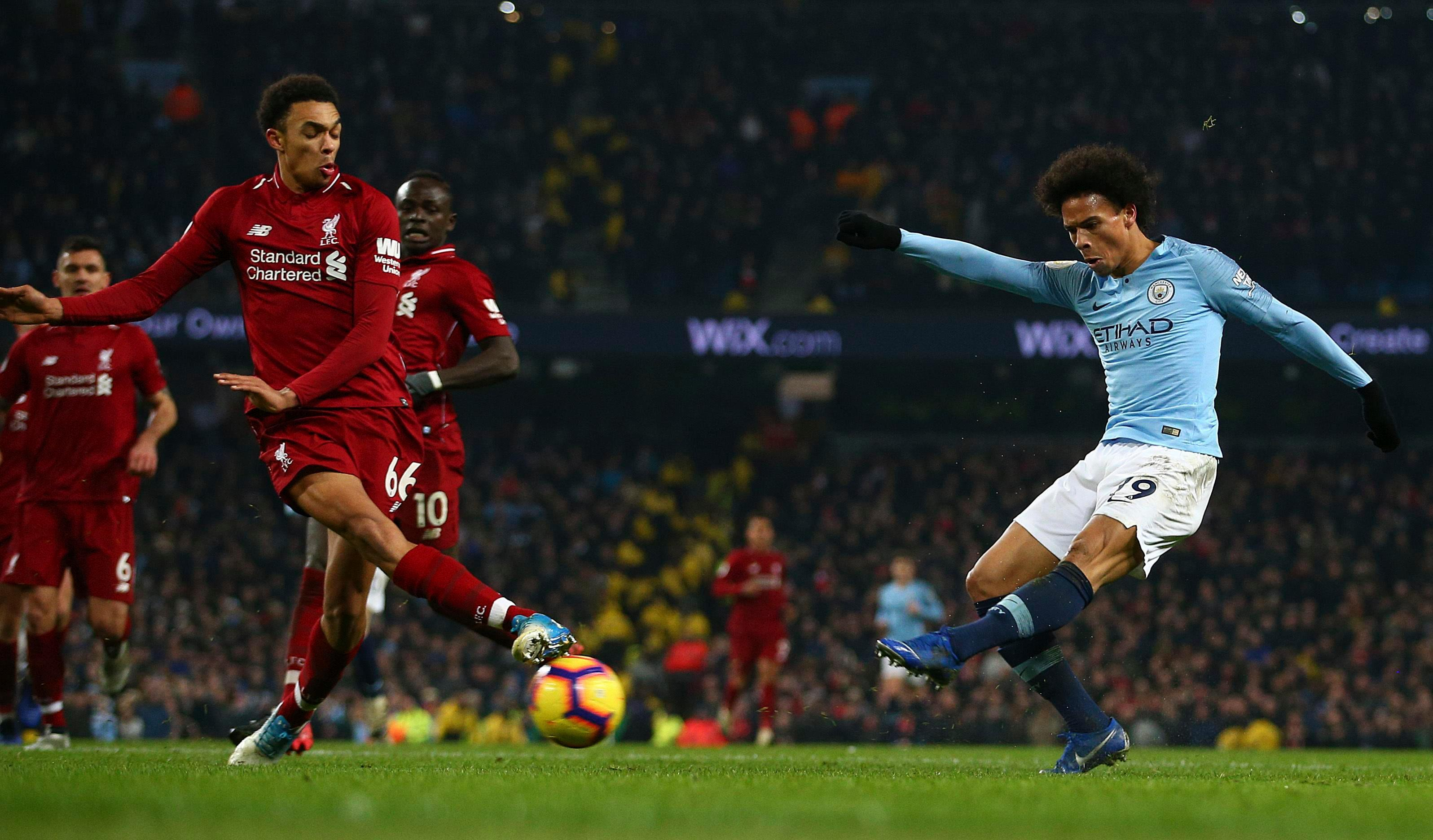 Leroy Sane fired Man City to a 2-1 victory that cut the gap to four points