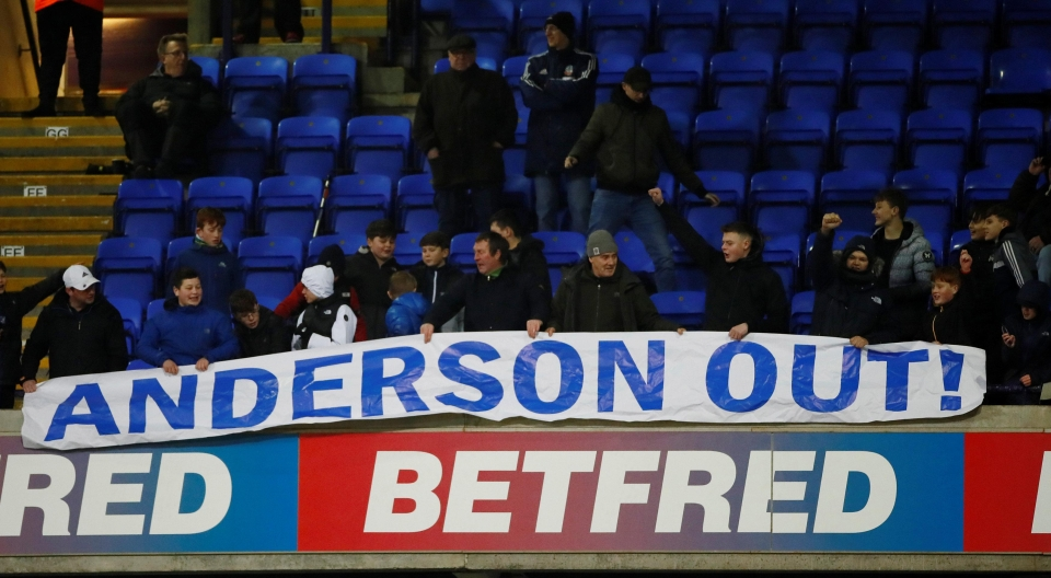 Bolton fans protested against Anderson on Monday night