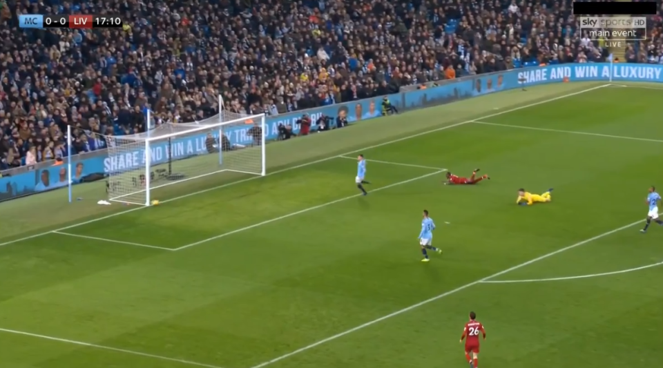The strike bounced back into City's box off the post and all hell was about to break loose